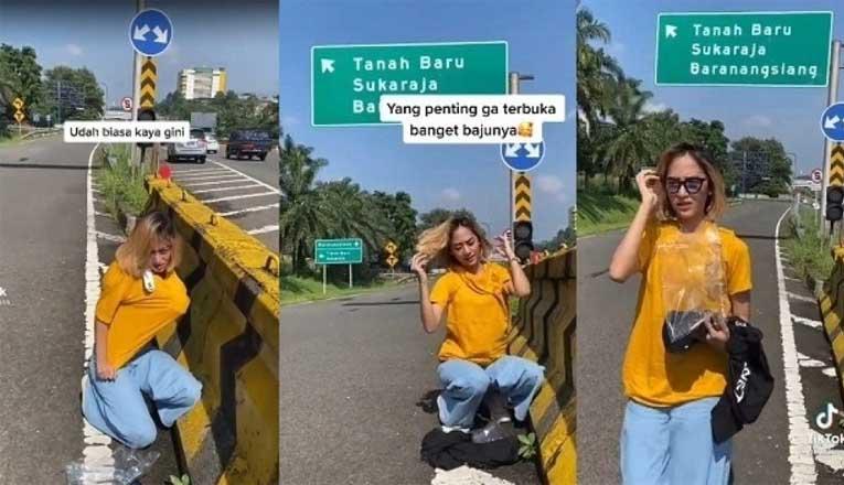Wanita Ganti Baju Di Tol Jagorawi Viral Di Media Sosial