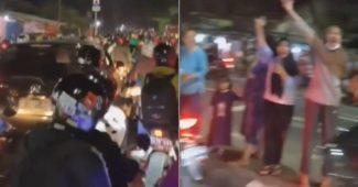 Aksi Warga memberikan semangat Pemudik di Jalan, seperti pejuang pulang dari medan pertempuran